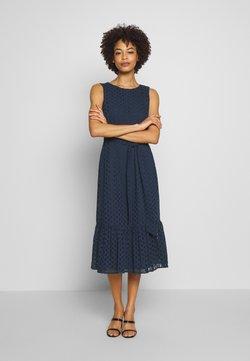 Wallis - BRODERIE TIERED MIDI DRESS - Day dress - ink