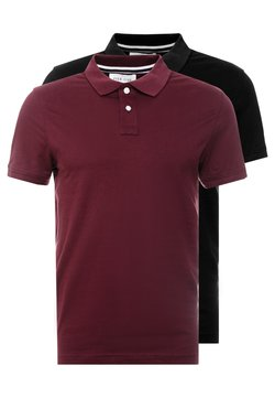 Pier One - 2 PACK - Polo shirt - bordeaux/black