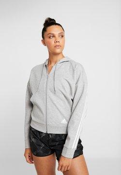 adidas Performance - 3STRIPES ATHLETICS HODDIE PULLOVER - Sweatjacke - medium grey heather/white