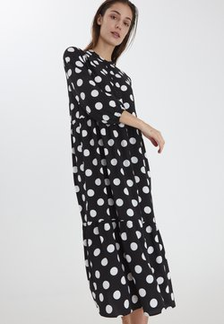 ICHI - Vestido camisero - black with dot