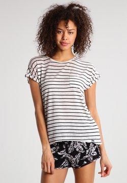 Superdry - SCOOP HEM TEE - T-Shirt print - ecru/black