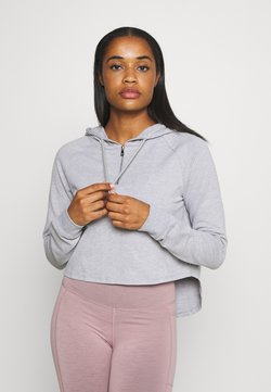 L'urv - KNOCK OUT CROP HOODIE - Jersey con capucha - grey marle