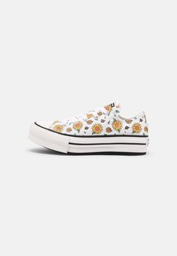Converse - CHUCK TAYLOR ALL STAR SUNFLOWER PLATFORM OX - Matalavartiset tennarit - white/citron pulse/terracotta pink
