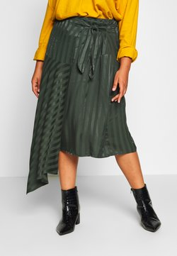 Lost Ink Plus - WRAP ASYM HEM STRIPE SKIRT - Jupe portefeuille - green