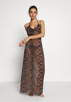 Missguided - LEOPARD PRINT COWL NECK DRESS - Beach accessory - black