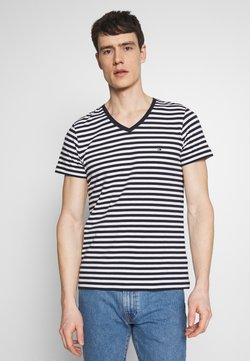Tommy Hilfiger - STRETCH V NECK TEE - T-Shirt basic - blue/white