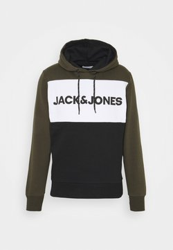 Jack & Jones - JJELOGO BLOCKING HOOD  - Kapuzenpullover - forest night