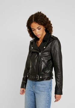 Object Petite - OBJNANDITA LEATHER JACKET - Kurtka skórzana - black