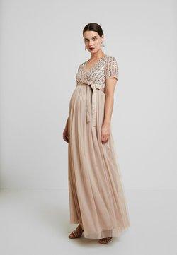 Maya Deluxe Maternity - STRIPE EMBELLISHED V NECK MAXI DRESS WITH TIE BELT - Vestido de fiesta - nude