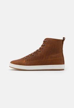 HUB - BASE - Korte laarzen - cognac/off white