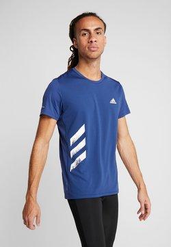 adidas Performance - OWN THE RUN 3STRIPES SHORT SLEEVE TEE - Camiseta estampada - tech indigo