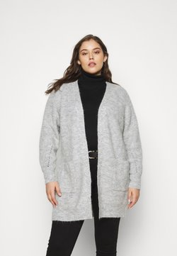 Selected Femme Curve - SLFLIA LONG CARDIGAN - Vest - light grey melange