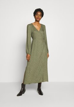 Cotton On - WRAP LONG SLEEVE MIDI DRESS - Day dress - green