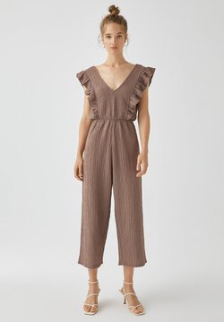 PULL&BEAR - MIT VOLANTS - Jumpsuit - mottled light brown
