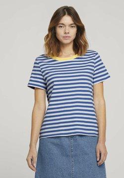 TOM TAILOR DENIM - RELAXED STRIPE TEE - T-Shirt print - blue/white
