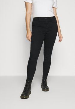 Missguided Plus - LAWLESS HIGHWAISTED SUPERSOFT ANKLE ZIP - Jeans Skinny - black