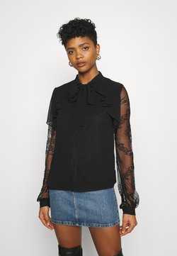 Missguided - SLEEVE TIE NECK BLOUSE - Maglietta a manica lunga - black