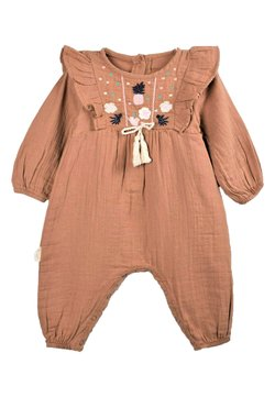 Cigit - Pineapple Embroidery Detailed Muslin Romper (0 to 18 mths) - Jumpsuit - mink color