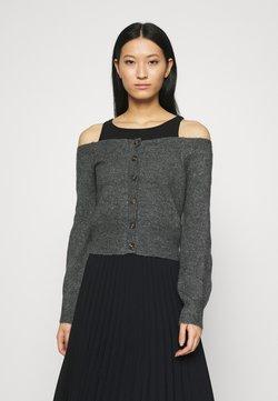 Who What Wear - OFF THE SHOULDER CARDIGAN - Neuletakki - dark heather grey