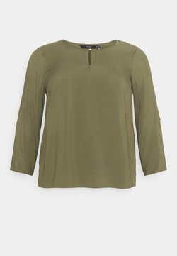 Vero Moda Curve - VMNADS 3/4 FOLD-UP TOP - Bluse - ivy green