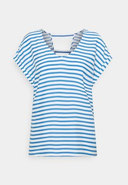 TOM TAILOR DENIM - V NECK  - T-Shirt print - mid blue/white