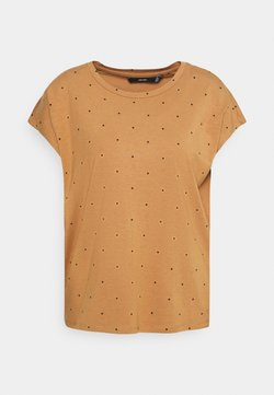 Vero Moda - VMMARLIEAVA WIDE FIT - T-Shirt print - tobacco brown