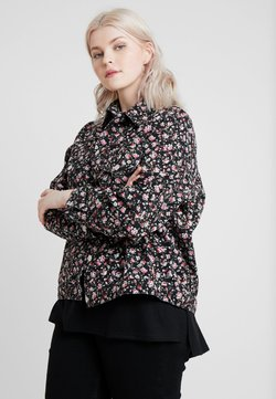 New Look Curves - FLORAL JACKET - Farkkutakki - black