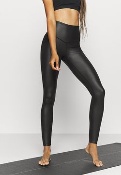 South Beach - WETLOOK HIGHWAIST LEGGING - Medias - black