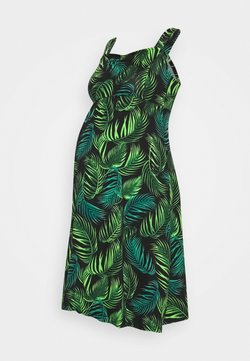 Dorothy Perkins Maternity - LEAF PRINT RUCHED FRONT CAMI FIT AND FLARE DRESS - Robe en jersey - black