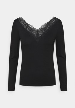 YAS Petite - YASELLE V NECK PETITE - Camiseta de manga larga - black