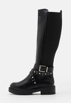 New Look Wide Fit - WIDE FIT AXEL STUD STRAP STRETCH BACK - Cowboy-/Bikerboot - black