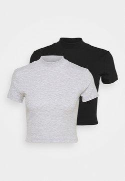 Even&Odd - 2 PACK - T-Shirt basic - black/grey