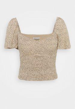 Abercrombie & Fitch - CINCH VNECK FLUTTER - Bluse - brown