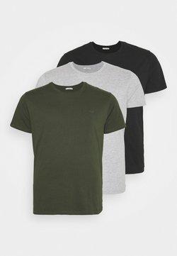 LTB - 3 PACK - T-shirt basique - black/olive/grey melange