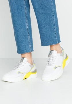 Marco Tozzi - LACE UP - Trainers - white/neon yellow