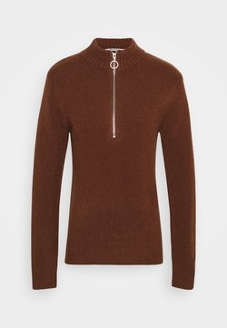 NA-KD - ZIPPED COLLAR SWEATER - Strickpullover - brown