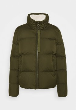 Marc O'Polo - PUFFER JACKET SHORT STAND UP COLLAR ZIPP - Daunenjacke - worker olive