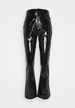 Missguided - SHINY FLARE TROUSERS - Stoffhose - black
