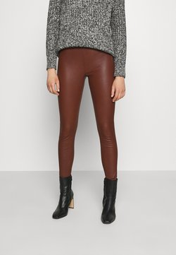 Selected Femme - SFSYLVIA STRETCH - Leather trousers - cherry mahogany