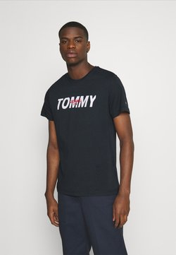Tommy Jeans - LAYERED GRAPHIC TEE  - Printtipaita - twilight navy