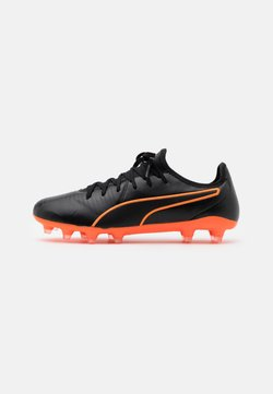 Puma - KING PRO FG - Moulded stud football boots - black/shocking orange