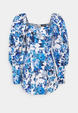 Missguided - PUFF SKATER DRESS BROCADE - Freizeitkleid - blue