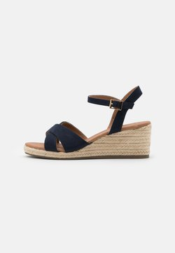 New Look Wide Fit - WIDE FIT YABBY CROSS VAMP LOW WEDGE - Espadrilles - navy