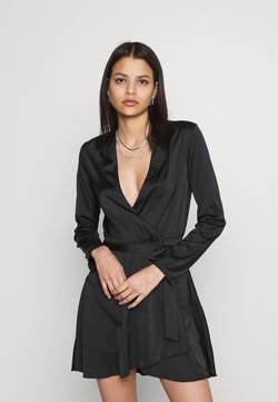 Nly by Nelly - BELTED WRAP DRESS - Cocktailkleid/festliches Kleid - black