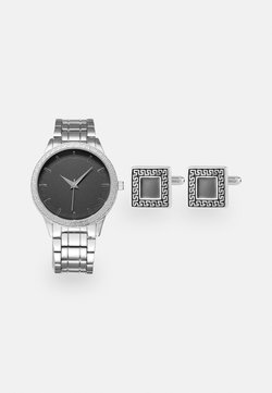 Pier One - WATCH CUFFLINK SET MANSCHETTENKNÖPFE - Rannekello - silver-coloured