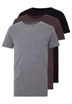 Replay - CREW TEE 3 PACK - Basic T-shirt - black/ grey melange/ bordeaux melange