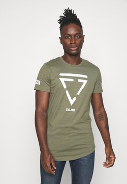 Jack & Jones - JCONEWHOLM TEE CREW NECK - T-shirts med print - dusty olive