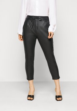 Vero Moda Petite - VMEVA MR LOOSE STRING COATED PANT - Stoffhose - black