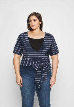 Tommy Jeans Curve - STRIPED WRAP - T-Shirt print - twilight navy/white