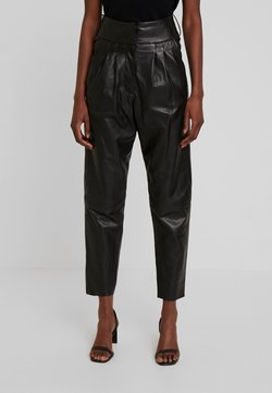 Ibana - MARION - Pantalon en cuir - black
